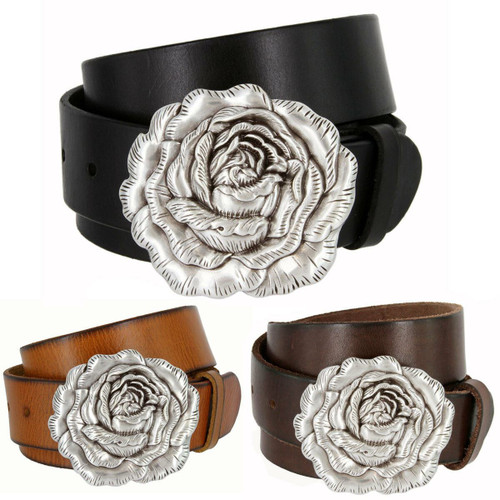 """Antique Silver Engraved Rose Buckle Genuine Full Grain Leather Casual Jean Belt 1-1/2""""(38mm) Wide"""