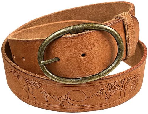 "Casual Jean Belt Tree of Life Embossed Genuine Full Grain Leather Belt 1-3/4""(45mm) Wide"