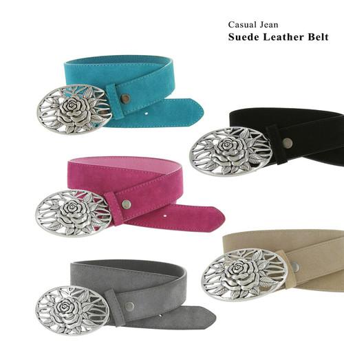 "Silver Rose Buckle Casual Jean Belt Genuine Suede Leather Belt 1-1/2""(38mm) Wide"