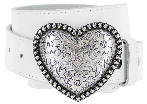 """Antique Silver Engraved Heart Buckle Genuine Full Grain Leather Casual Jean Belt 1-1/2""""(38mm) Wide"""