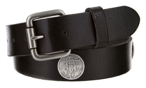 """Indian Coin Conchos Genuine Full Grain Leather Casual Jean Belt 1-1/2""""(38mm) Wide"""