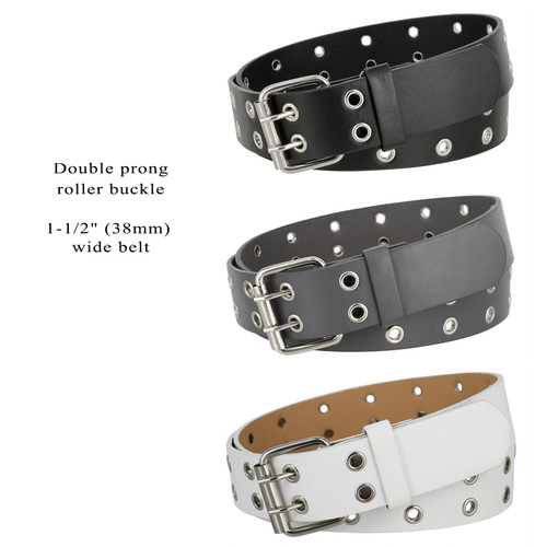 """3039 Double Grommet Twin Prong Nickle Roller Buckle Leather Casual Jean Belt 1-1/2""""(38mm) Wide"""