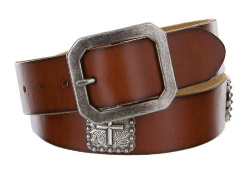 """Silver Cross Conchos Genuine Full Grain Leather Casual Jean Belt 1-1/2""""(38mm) Wide"""