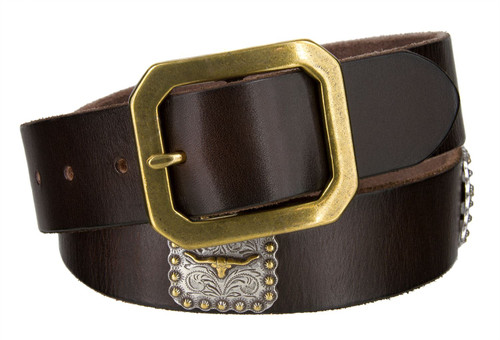 "Gold Longhorn Conchos Genuine Full Grain Leather Casual Jean Belt 1-1/2""(38mm) Wide"