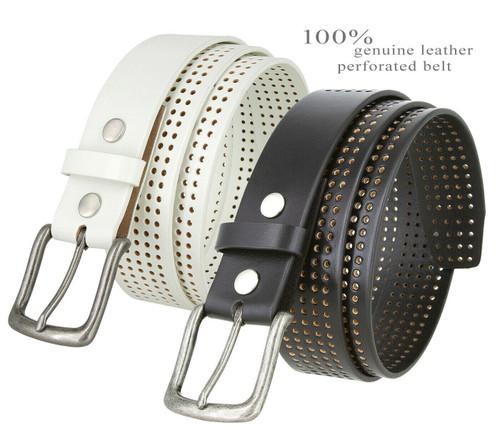 "Brody Perforated Golf Belt Genuine Full Grain Leather Belt 1-1/2""(38mm) Wide"