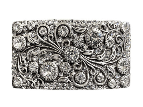 HA0850 LASRP Swarovski rhinestone Crystal Belt Buckle Antique Rectangle Floral Engraved Buckle - Silver-Full Crystal