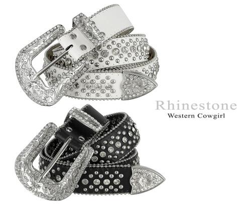 "50116 Rhinestone Belt Fashion Western Bling Crystal Genuine Leather Belt 1-1/2""(38mm) Wide"