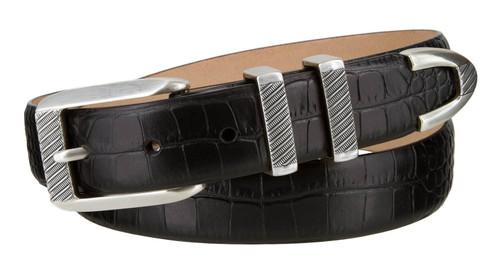 """8211 Silver Italian Calfskin Leather Designer Golf Dress Belt 1-1/8"""" (30mm) Wide"""