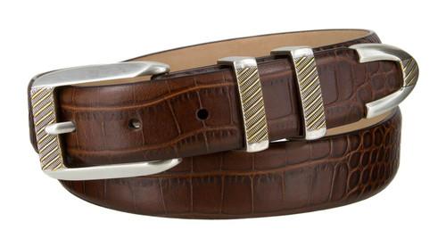 """8211 Gold Italian Calfskin Leather Designer Golf Dress Belt 1-1/8"""" (30mm) Wide"""