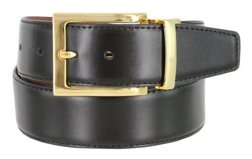 "A505S Gold Men's Reversible Belt Genuine Leather Dress Casual Belt 1-3/8""(35mm) Wide (Black/Tan)"