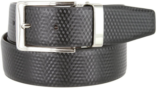 "A530-NP-160503 Men's Reversible Belt Genuine Leather Dress Casual Belt 1-3/8""(35mm) Wide (Black/Brown)"