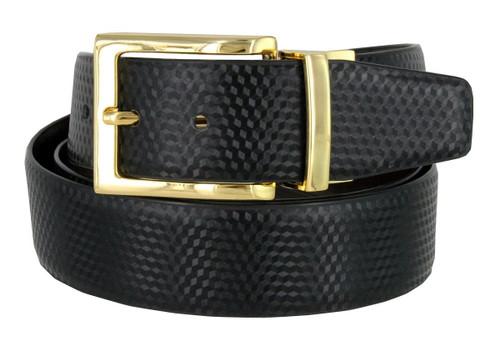 "A505S-GP-160503 Men's Reversible Belt Genuine Leather Dress Casual Belt 1-3/8""(35mm) wide (Black/Brown)"