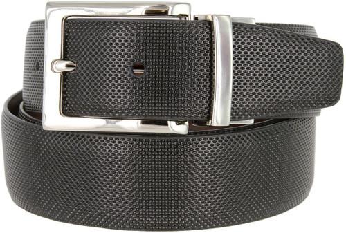 "A505S-NP-160504 Men's Reversible Belt Genuine Leather Dress Casual Belt 1-3/8""(35mm) wide (Black/Brown)"