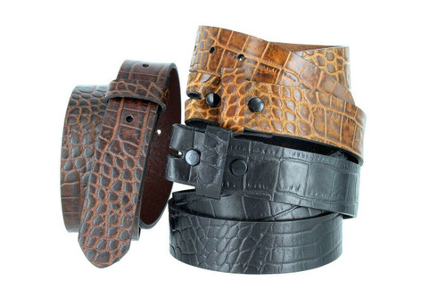 """Crocodile Embossed One Piece Full Leather Belt Strap with Snaps on  1-3/8""""(35mm) Wide"""