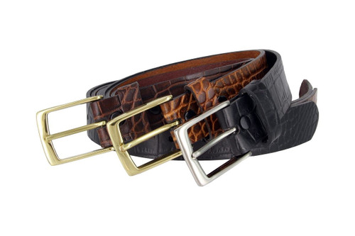 """Classic Solid Brass Buckle Crocodile Embossed One Piece Full Leather Belt 1-3/8""""(35mm) Wide"""