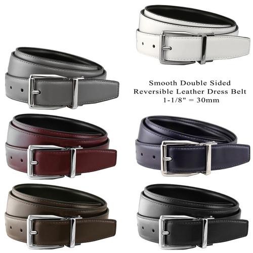 "4010B-NP-RB30 Reversible Belt Genuine Leather Dress Casual Belt 1-1/8""(30mm) Wide"