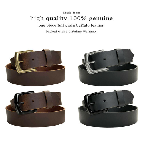 """P3926 Antique Engraved Buckle Genuine Full Grain Leather Casual Jean Belt 1-1/2""""(38mm) Wide"""