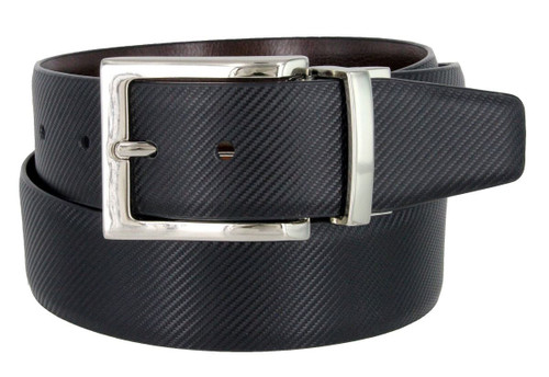 "A505S-NP-160505 Men's Reversible Belt Genuine Leather Dress Casual Belt 1-3/8""(35mm) wide (Black/Brown)"