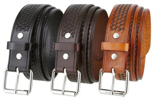 "Nickel Roller Buckle Uniform Work Belt Basketweave One Piece Full Grain Cowhide Leather Belt 1-1/2""(38mm) Wide"