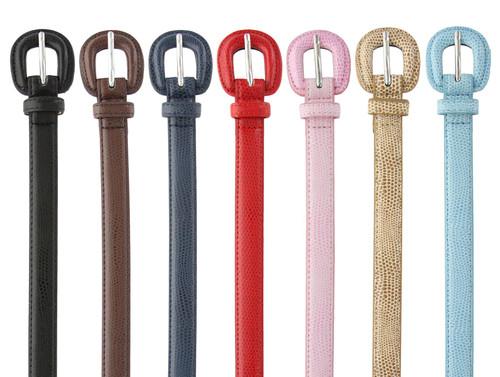 """RD05 Women's Belt Embossed Leather Casual Dress Skinny Belt  3/4""""(19mm) Wide"""