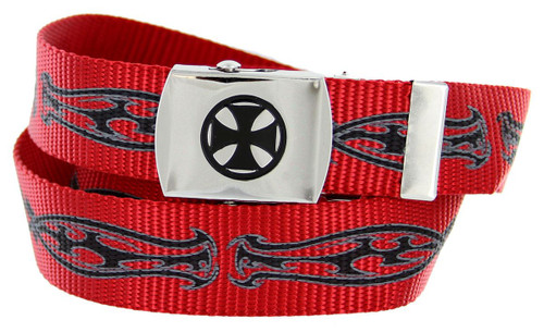 """BF2207 Black Cross Canvas Military Web Punk Belt 1-1/4""""(32mm) Wide- Red"""