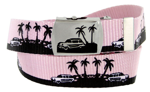 """BF50090 Palm trees Canvas Military Web Punk Belt 1-1/4""""(32mm) Wide- Pink"""