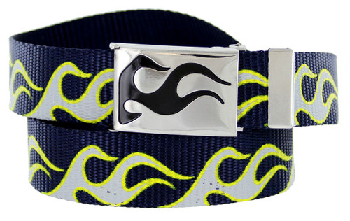 """BF50173 Flame Canvas Military Web Punk Belt 1-1/4""""(32mm) Wide- Navy"""