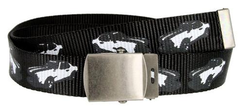 "Canvas Military Web Punk Belt 1-1/4""(32mm) Wide- Black"