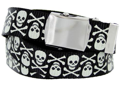 "BF6273 Black Canvas Military Web Punk Belt 1-1/4""(32mm) Wide- White Skull"