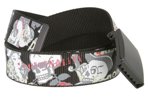 "Canvas Military Web Punk Belt Black With Bottle Opener Metal Buckle 1-1/2""(38mm) Wide"