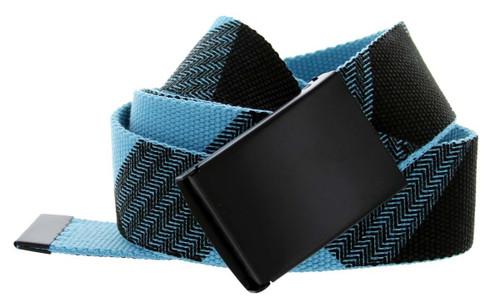 Canvas Military Web Style Belt Black Metal Buckle - Blue/Black