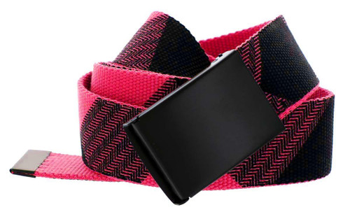 Canvas Military Web Style Belt Black Metal Buckle - (red)