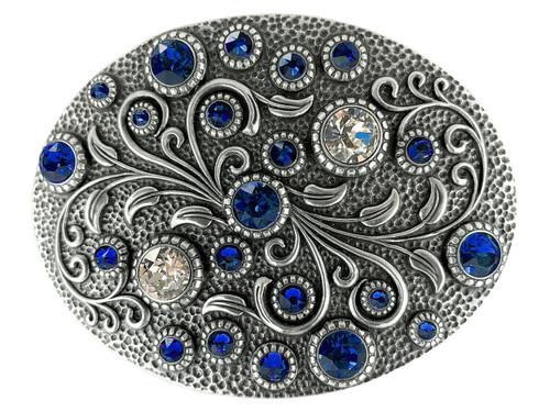 Swarovski rhinestone Crystal Belt Buckle Antique Oval Floral Engraved Buckle - Silver-Capri Blue