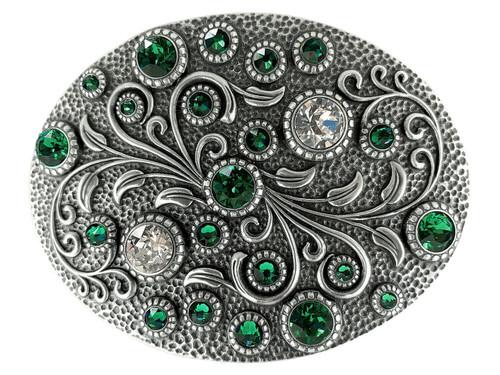 Swarovski rhinestone Crystal Belt Buckle Antique Oval Floral Engraved Buckle - Silver-Emerald