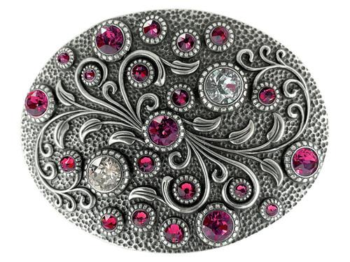 Swarovski rhinestone Crystal Belt Buckle Antique Oval Floral Engraved Buckle - Silver-Fuchsia