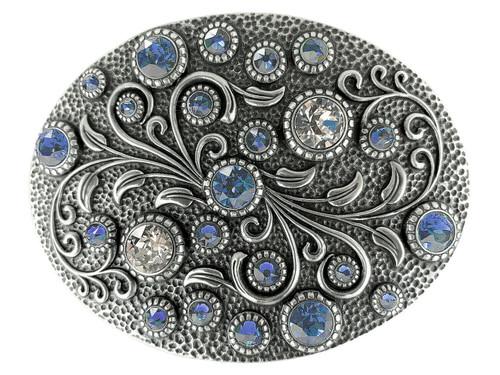 Swarovski rhinestone Crystal Belt Buckle Antique Oval Floral Engraved Buckle - Silver-Light Sapphi