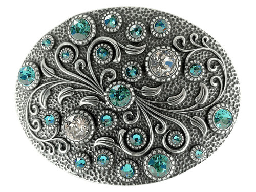 Swarovski rhinestone Crystal Belt Buckle Antique Oval Floral Engraved Buckle - Silver-Light Turquo