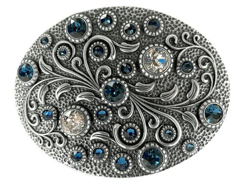Swarovski rhinestone Crystal Belt Buckle Antique Oval Floral Engraved Buckle - Silver-Montana