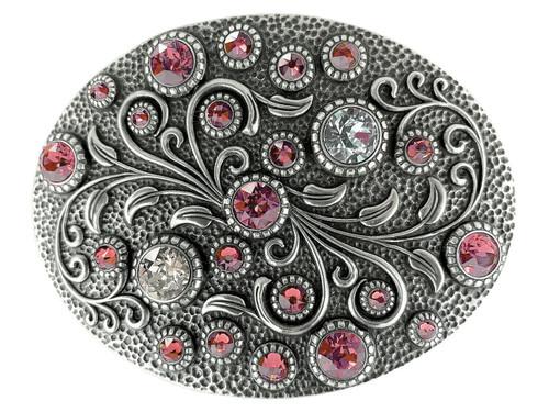 Swarovski rhinestone Crystal Belt Buckle Antique Oval Floral Engraved Buckle - Silver-Rose