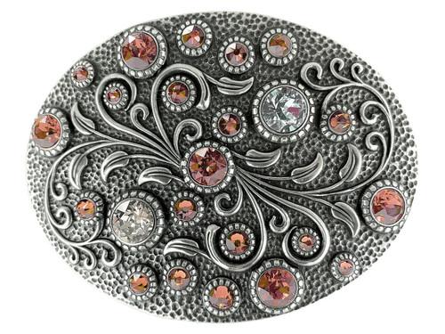 Swarovski rhinestone Crystal Belt Buckle Antique Oval Floral Engraved Buckle - Silver-Rose Peach