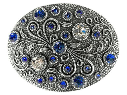 Swarovski rhinestone Crystal Belt Buckle Antique Oval Floral Engraved Buckle - Silver-Sapphire