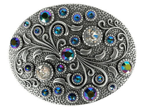 Swarovski rhinestone Crystal Belt Buckle Antique Oval Floral Engraved Buckle - Silver-Scarabaeus Green