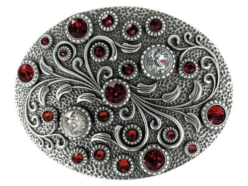 Swarovski rhinestone Crystal Belt Buckle Antique Oval Floral Engraved Buckle - Silver-Siam