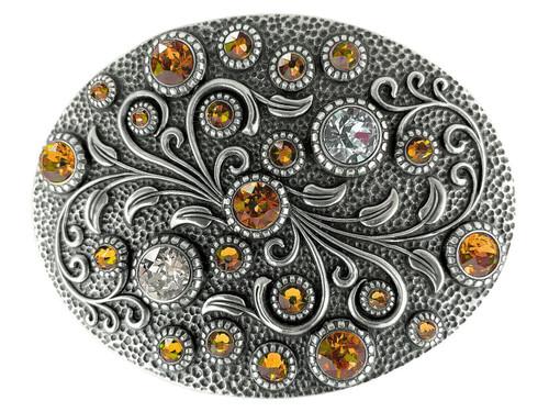 Rhinestone Crystal Belt Buckle Antique Oval Floral Engraved Buckle - Silver-Tangerine