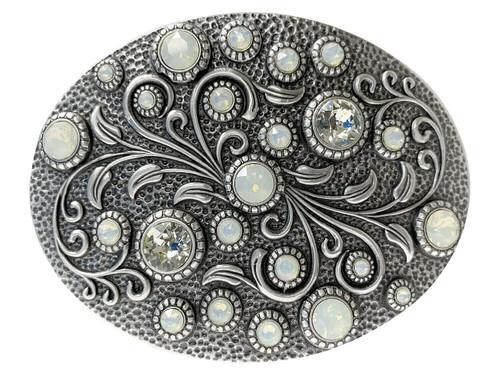 Swarovski rhinestone Crystal Belt Buckle Antique Oval Floral Engraved Buckle - Silver-White Opal