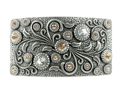 Rhinestone Crystal Belt Buckle Antique Oval Floral Engraved Buckle -Light Silk