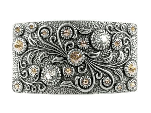 Swarovski rhinestone Crystal Belt Buckle Antique Oval Floral Engraved Buckle -Brass-Light Silk