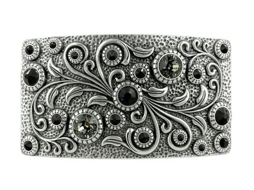 Swarovski rhinestone Crystal Belt Buckle Antique Oval Floral Engraved Buckle -Silver-Black Diamond Jet
