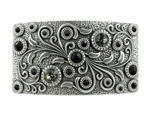 Rhinestone Crystal Belt Buckle Antique Oval Floral Engraved Buckle -Silver-Black Diamond Jet