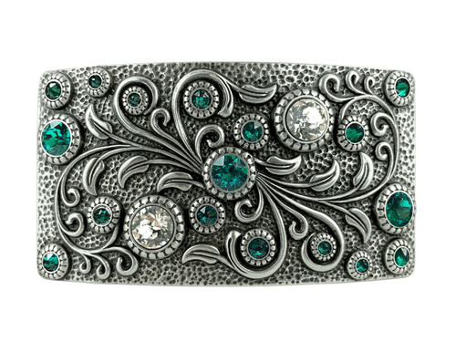 Rhinestone Crystal Belt Buckle Antique Oval Floral Engraved Buckle -Silver-Blue Zircon